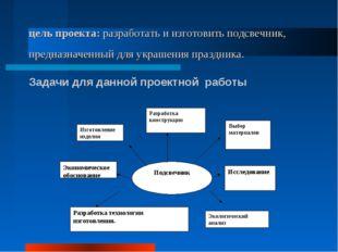 цель проекта: разработать и изготовить подсвечник, предназначенный для украше