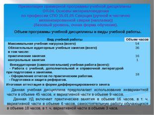 Объем программы учебной дисциплины и виды учебной работы. Данная учебная дисц