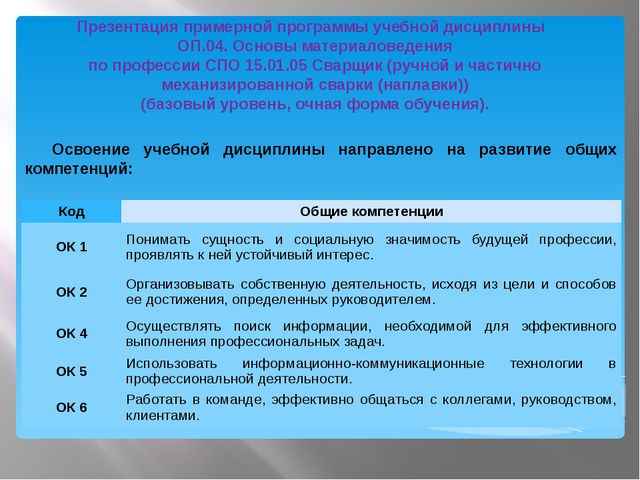 Освоение учебной дисциплины направлено на развитие общих компетенций: Презен...