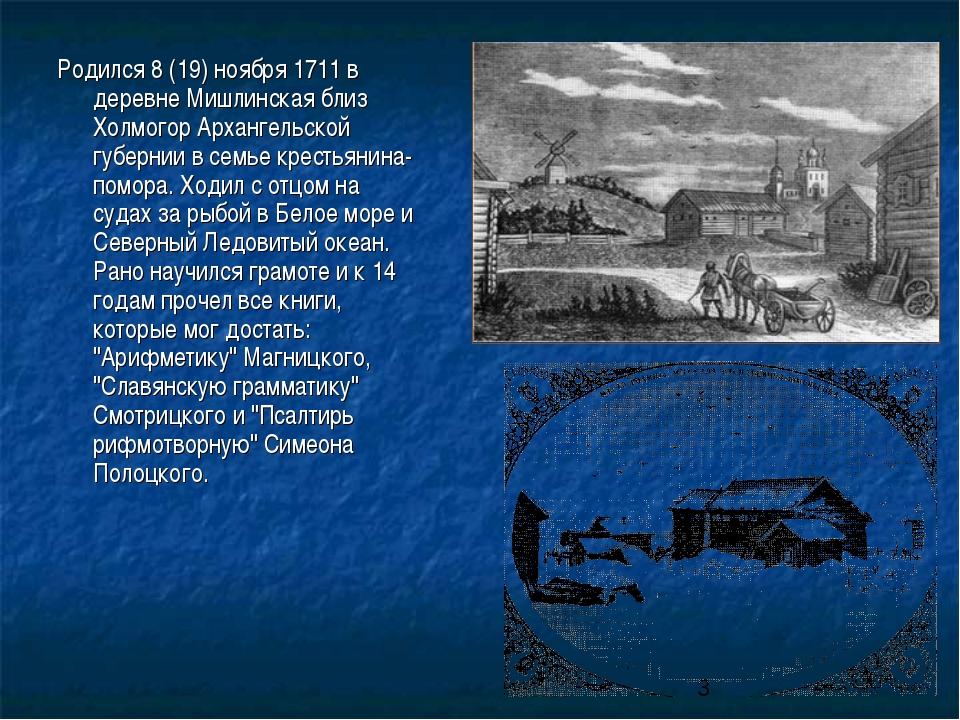 Родился 8 (19) ноября 1711 в деревне Мишлинская близ Холмогор Архангельской г...