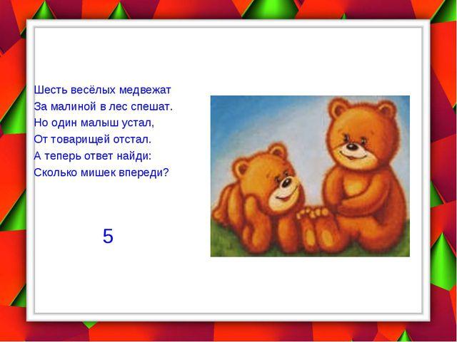 Шесть весёлых медвежат За малиной в лес спешат. Но один малыш устал, От това...