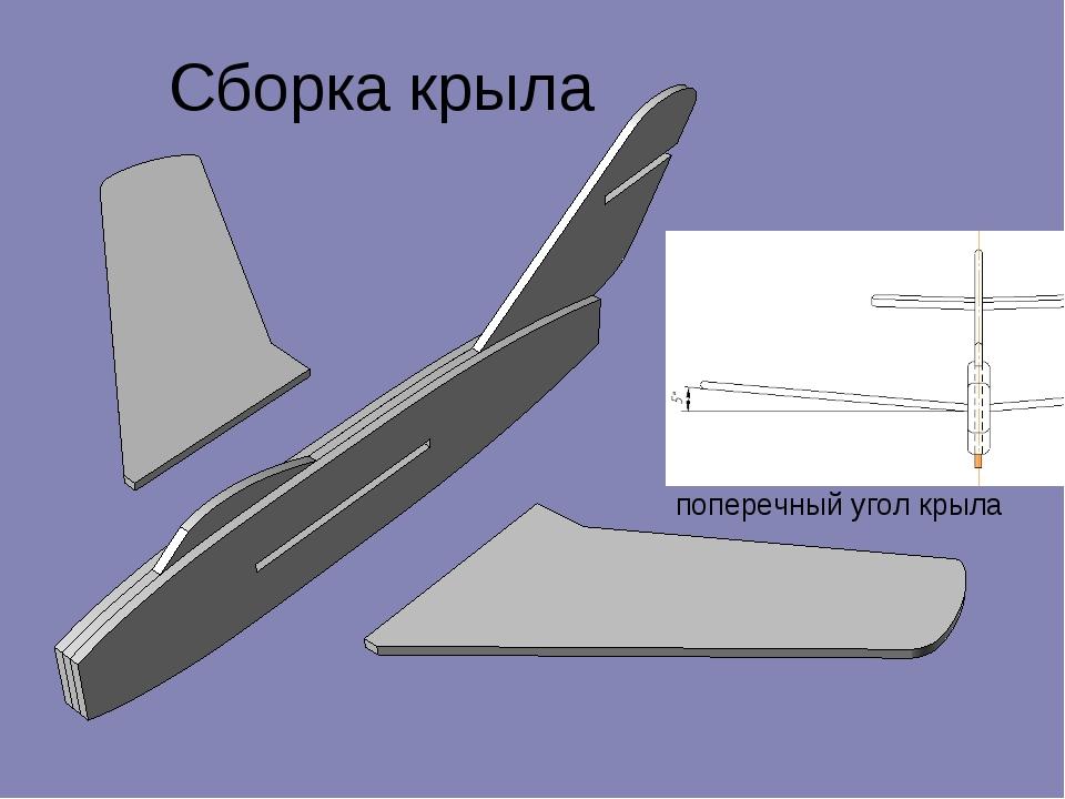 Сборка крыла поперечный угол крыла