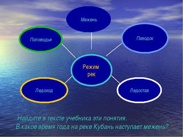 Найдите в тексте учебника эти понятия. В какое время года на реке Кубань нас...