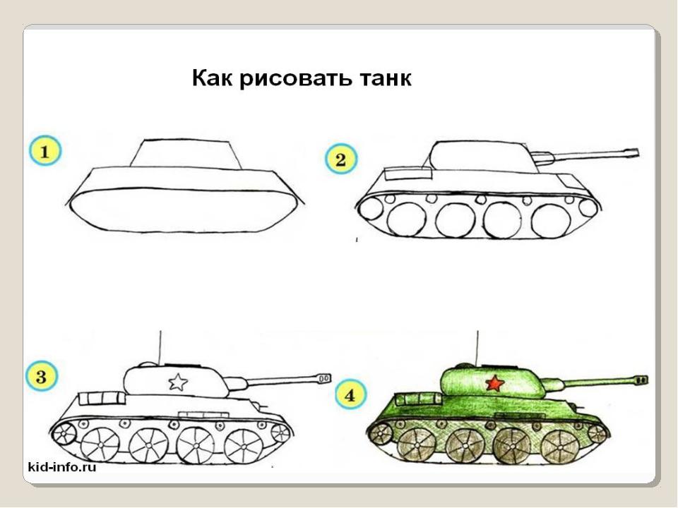 Как нарисовать не поэтапно танк