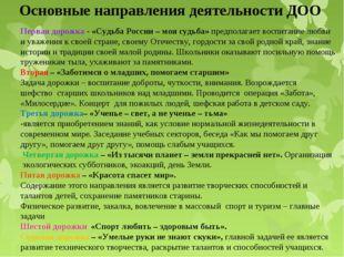 Основные направления деятельности ДОО Первая дорожка - «Судьба России – моя с