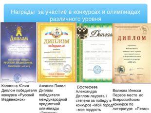 Награды за участие в конкурсах и олимпиадах различного уровня Ефстефева Алекс
