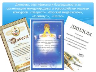 Дипломы, сертификаты и благодарности за организацию международных и всероссий