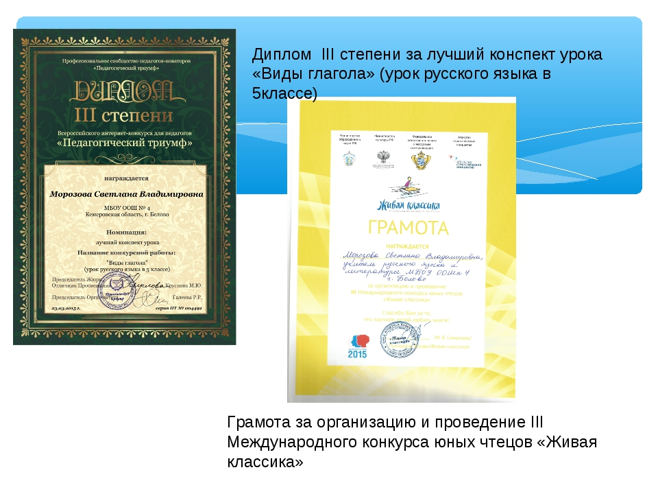 Грамота за организацию и проведение III Международного конкурса юных чтецов...