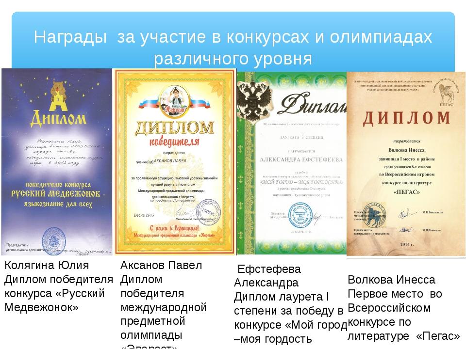Награды за участие в конкурсах и олимпиадах различного уровня Ефстефева Алекс...