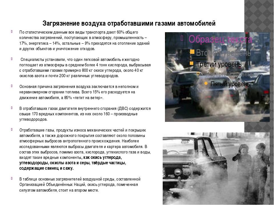 Загрязнение воздуха отработавшими газами автомобилей По статистическим данным...