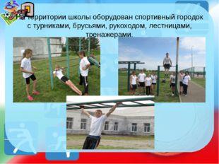 На территории школы оборудован спортивный городок с турниками, брусьями, руко