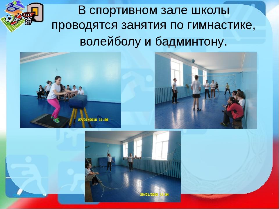 В спортивном зале школы проводятся занятия по гимнастике, волейболу и бадминт...
