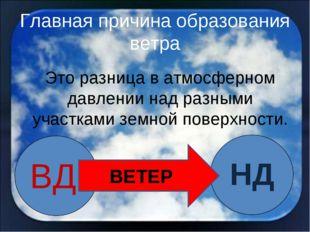 Главная причина образования ветра ВД НД ВЕТЕР Это разница в атмосферном давле