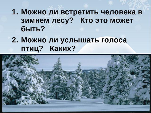 Можно ли встретить человека в зимнем лесу? Кто это может быть? Можно ли услыш...