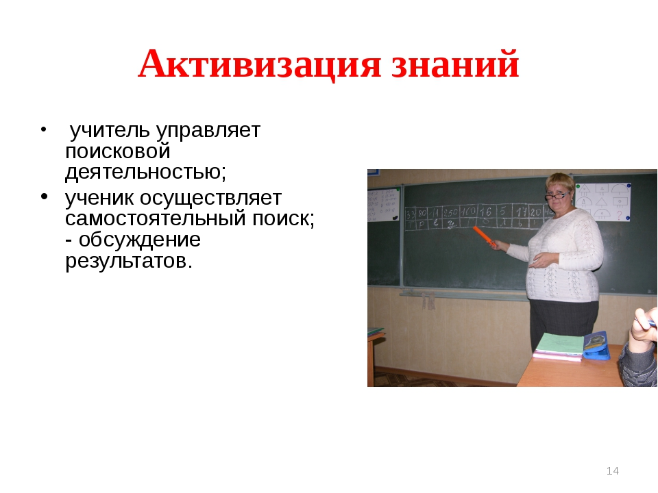 Активизация знаний учитель управляет поисковой деятельностью; ученик осуществ...