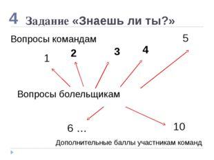 Задание «Знаешь ли ты?» 5 2 1 10 4 Вопросы болельщикам 3 4 6 … Дополнительные