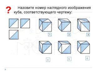Назовите номер наглядного изображения куба, соответствующего чертежу: ? 4 5 6