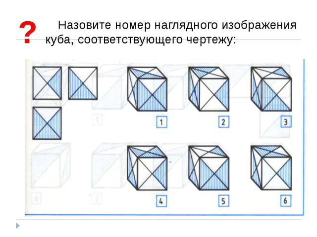 Назовите номер наглядного изображения куба, соответствующего чертежу: ?