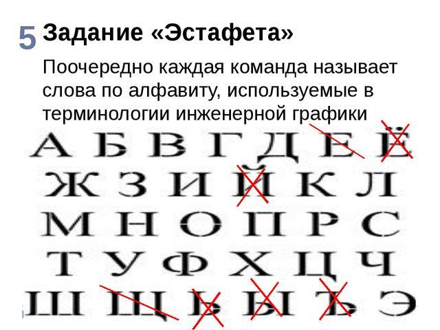 Задание «Эстафета» 5 Поочередно каждая команда называет слова по алфавиту, ис...