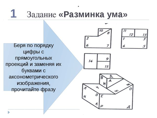 . Задание «Разминка ума» 1 Беря по порядку цифры с прямоугольных проекций и з...