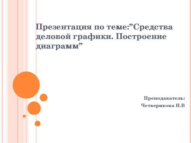 """Презентация по теме:""""Средства деловой графики. Построение диаграмм"""" Преподава..."""