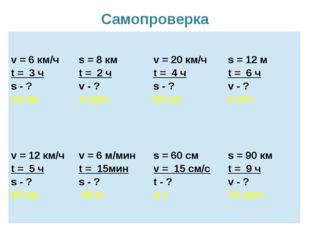 Самопроверка v = 6км/ч t=3ч s -? 18 км s = 8км t=2ч v -? 4 км/ч v = 20км/ч t=