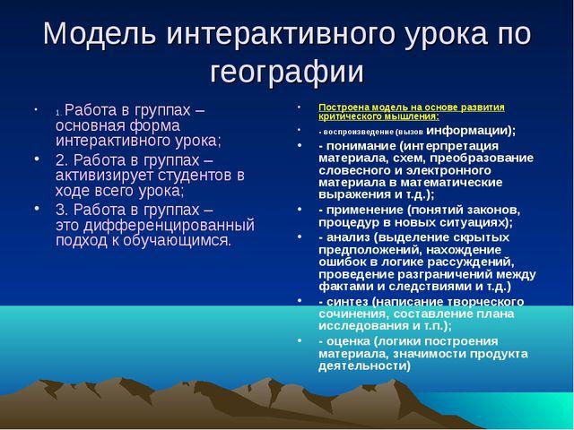 Модель интерактивного урока по географии 1. Работа в группах – основная форма...