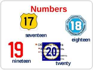 Numbers seventeen eighteen nineteen twenty