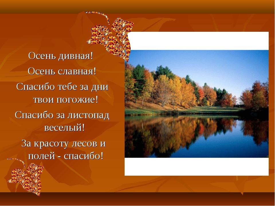 Осень дивная! Осень славная! Спасибо тебе за дни твои погожие! Спасибо за лис...