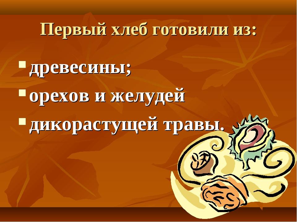 Первый хлеб готовили из: древесины; орехов и желудей дикорастущей травы.