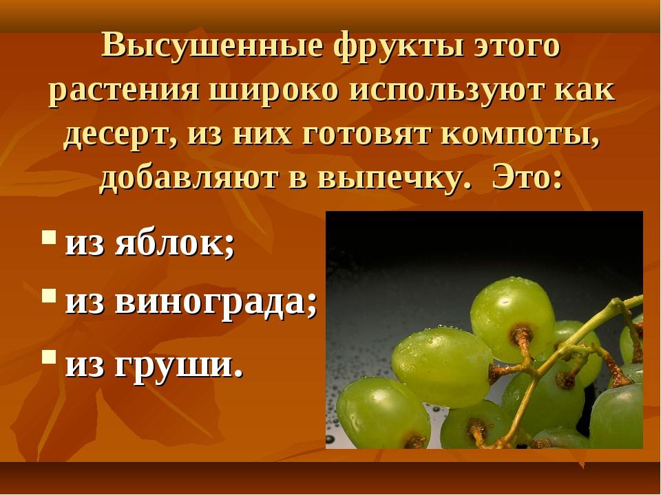 Высушенные фрукты этого растения широко используют как десерт, из них готовят...