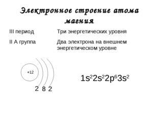 Электронное строение атома магния +12 2 1s22s22р63s2 8 2 III периодТри энерг