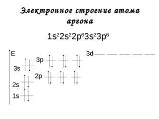 Электронное строение атома аргона 1s22s22р63s23р6 1s E 2s 2р 3s 3р 3d