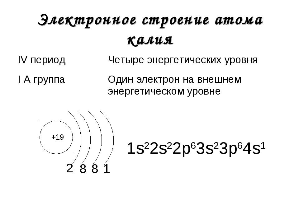Электронное строение атома калия +19 2 1s22s22р63s23р64s1 8 8 1 IV периодЧет...