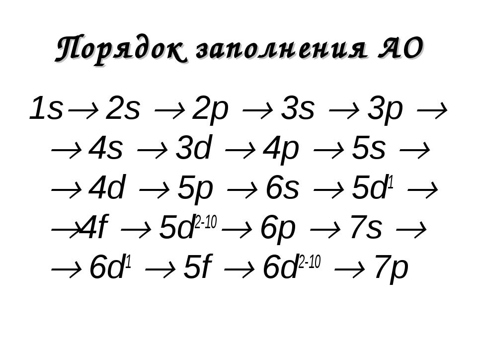 Порядок заполнения АО 1s 2s  2p  3s  3p   4s  3d  4p  5s   4d  5p...