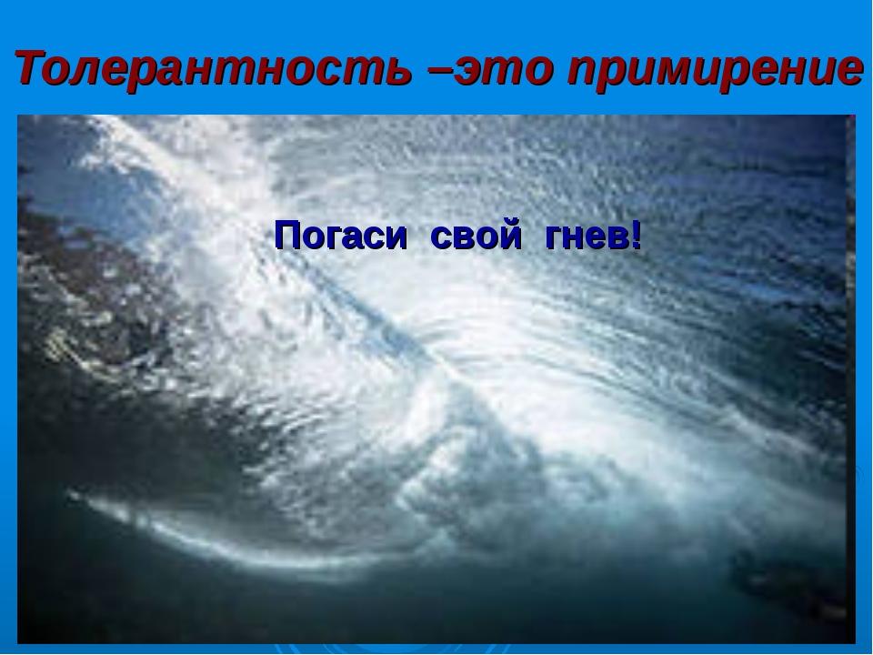 Толерантность –это примирение Погаси свой гнев!