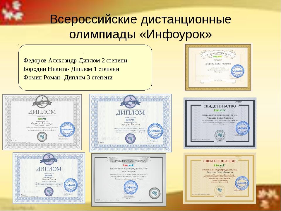 Всероссийские дистанционные олимпиады «Инфоурок» . Федоров Александр-Диплом 2...