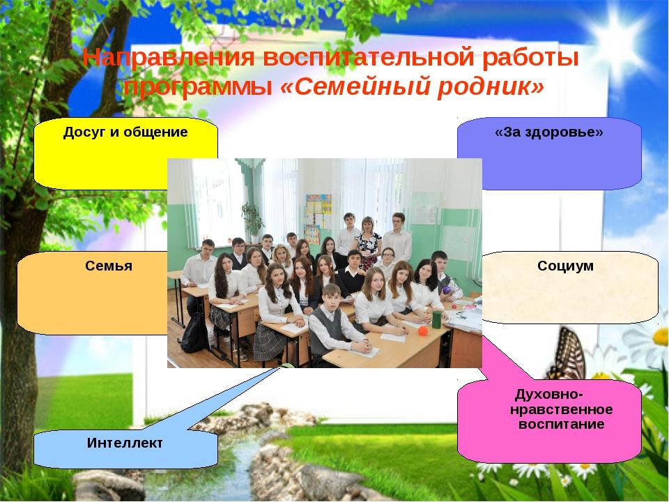 Направления воспитательной работы программы «Семейный родник» Досуг и общение...