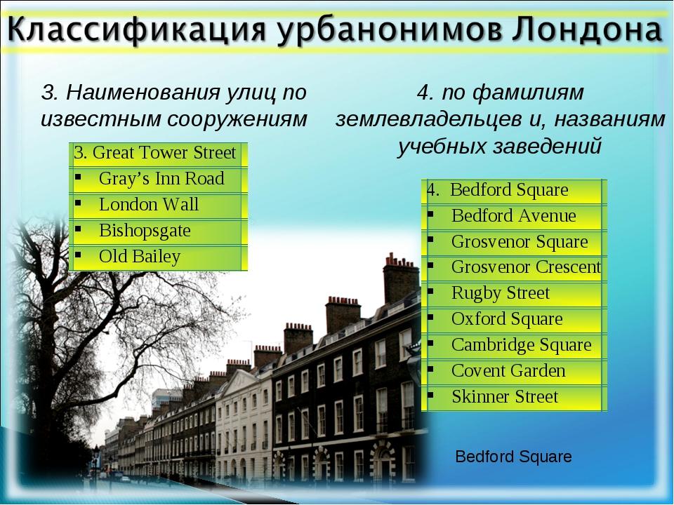 3. Наименования улиц по известным сооружениям 4. по фамилиям землевладельцев...