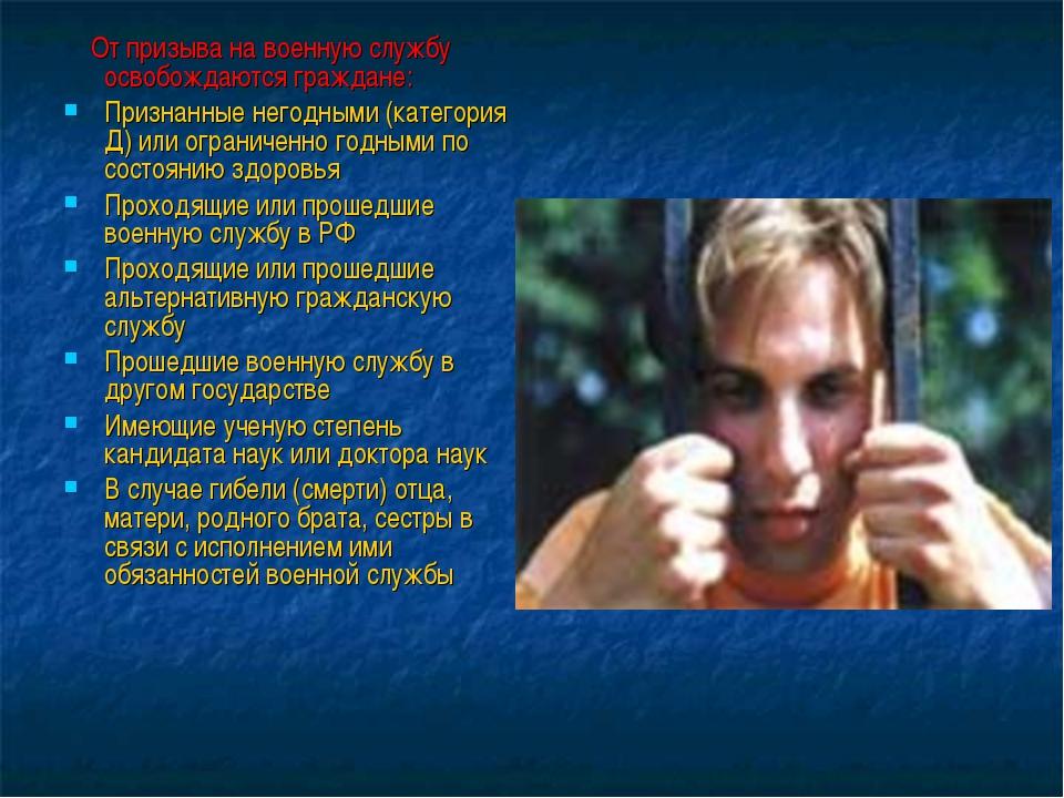 От призыва на военную службу освобождаются граждане: Признанные негодными (к...