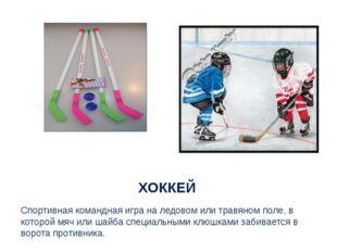 ХОККЕЙ Спортивная командная игра на ледовом или травяном поле, в которой мяч