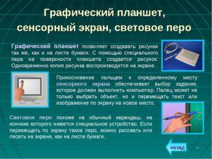 * Графический планшет, сенсорный экран, световое перо Графический планшет поз