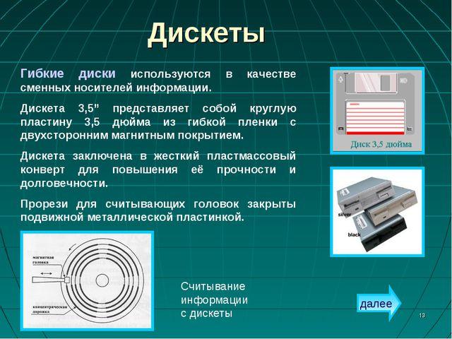 * Дискеты Считывание информации с дискеты Гибкие диски используются в качеств...