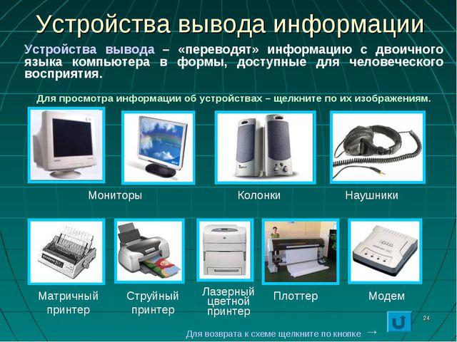 * Устройства вывода информации Мониторы Колонки Наушники Матричный принтер Ст...