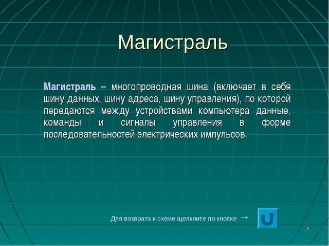 * Магистраль Магистраль – многопроводная шина (включает в себя шину данных, ш...