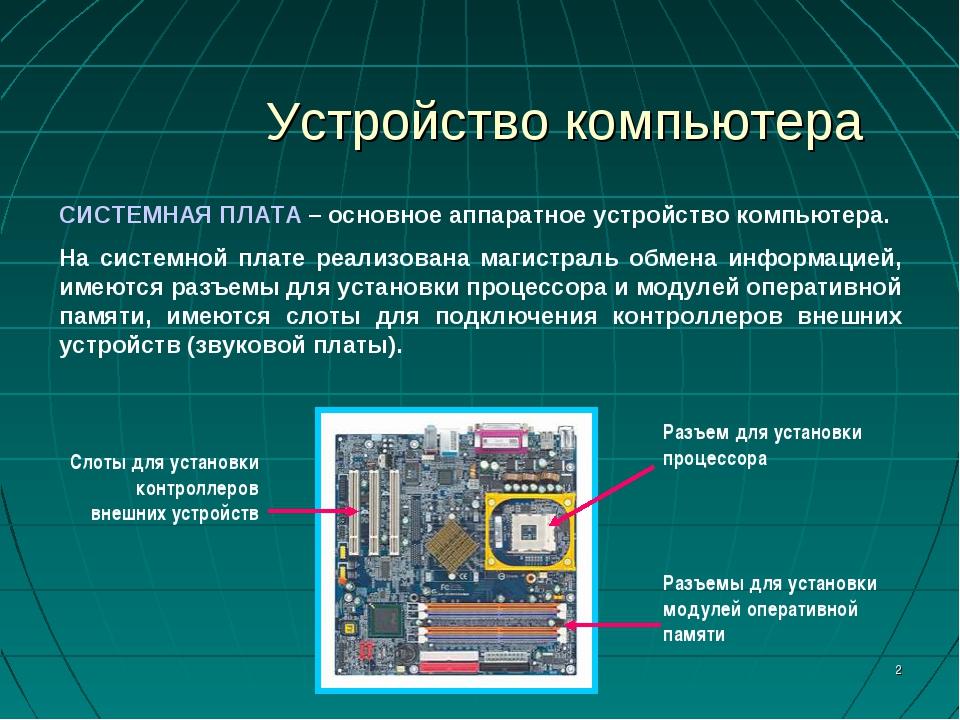* Устройство компьютера СИСТЕМНАЯ ПЛАТА – основное аппаратное устройство комп...