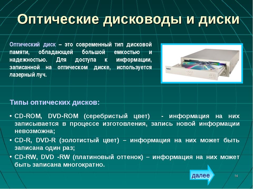 * Оптические дисководы и диски Типы оптических дисков: CD-ROM, DVD-ROM (сереб...