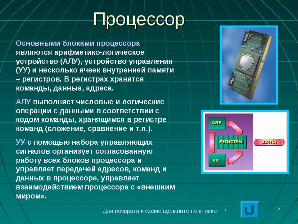 * Процессор Основными блоками процессора являются арифметико-логическое устро...