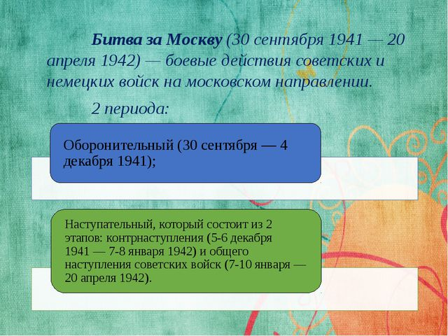 Битва за Москву (30 сентября 1941— 20 апреля 1942)— боевые действия совет...