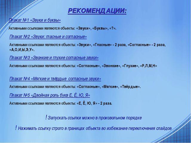 РЕКОМЕНДАЦИИ: Плакат №1 «Звуки и буквы» Активными ссылками являются объекты:...